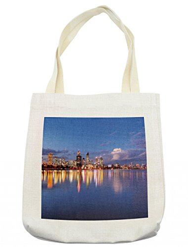 Lunarable Modern Tote Bag, Skyline of Perth Western Australia at Night Dramatic Urban Swan River Scenery, Cloth Linen Reusable Bag for Shopping Groceries Books Beach Travel & More, -