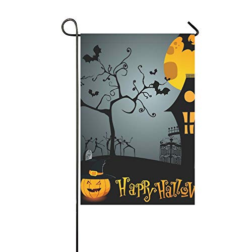 RYUIFI Home Decorative Outdoor Double Sided Cute Halloween Garden Flag,House Yard Flag,Garden Yard Decorations,Seasonal Welcome Outdoor Flag 12 X 18 Inch Spring Summer -