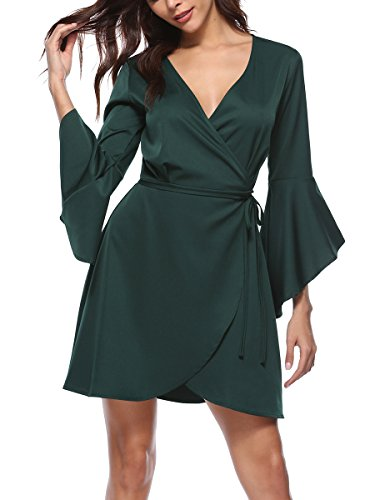 - Sophieer Girl's Cute Stitching Ruched Halter Tie Waist Knot A-Line Dress Green S