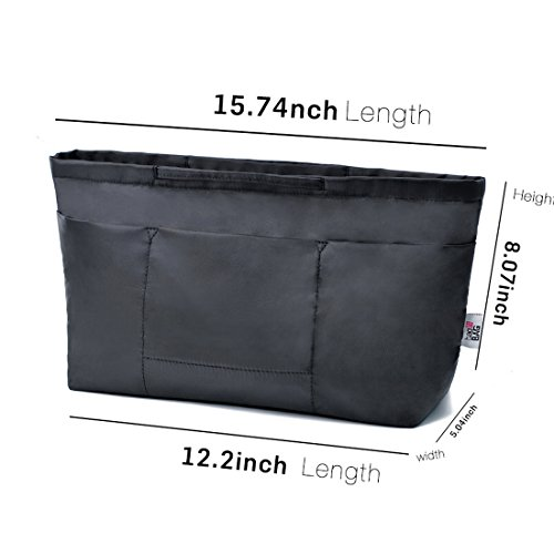 13 Pockets Purse Organizer Tote Insert Liner Bag Anti-Theft Keychain(M,Black) by BES CHAN (Image #4)