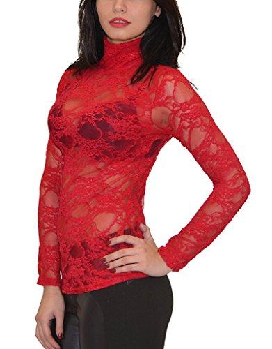 by Haute avec Motif B13 Blouse Chemise tex Top Femme Longues Sexy Rouge Transparente Floral Femmes qHrt1qw