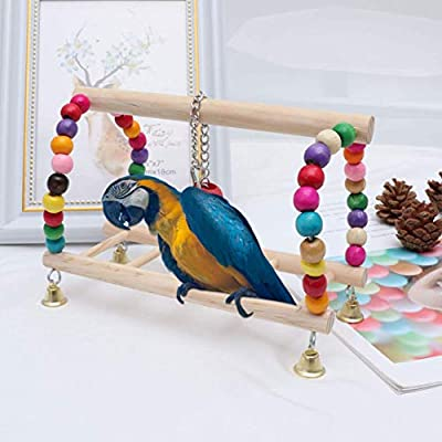 SONYANG Bird Parrot Toy Hanging Bird Swing Parrot Ladder Bird Cage Chew Toy Set Hanging Wooden Ladder Toy for Birds Cockatiel Cockatoo Lovebird