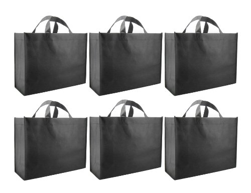 UPC 609111200035, Reusable Gift Bags, Large, Black 6 Pack