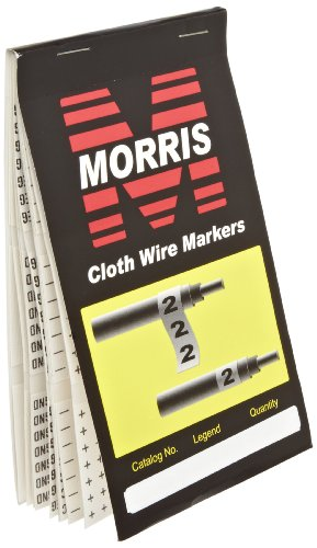 Morris Products Pre-Printed Wire Marker Booklet - AC, DC, pos, neg, grnd, neut, spare, blank, + - Standard Marking – 21-45 Markers Per Legend – Self-Adhesive Cloth Material – 1 Count