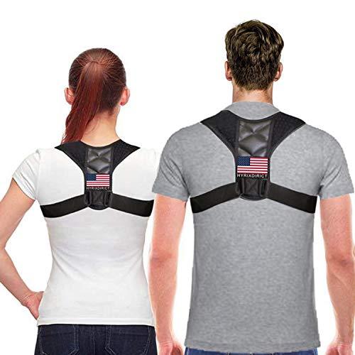 Posture Corrector for Women & Men Under Clothes Adjustable Shoulder Belt for Slouching & Hunching Upper Back Brace Posture Clavicle Strap Pain Relief (Black, M)