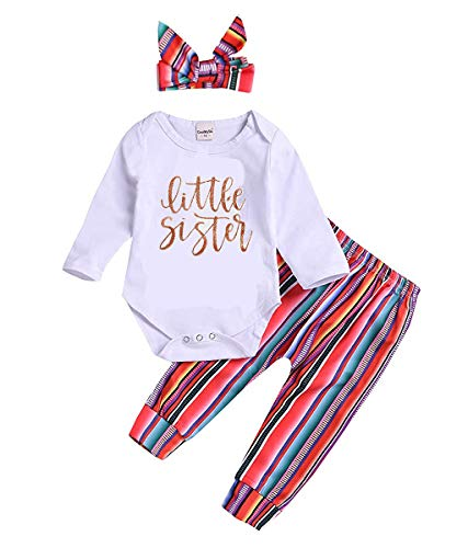Newborn Infant Baby Boy Girl Outfits Long Sleeve Letter Print Romper +Rainbow Striped Pants + Headband Clothes Set (Little Sister, 0-3 Months)