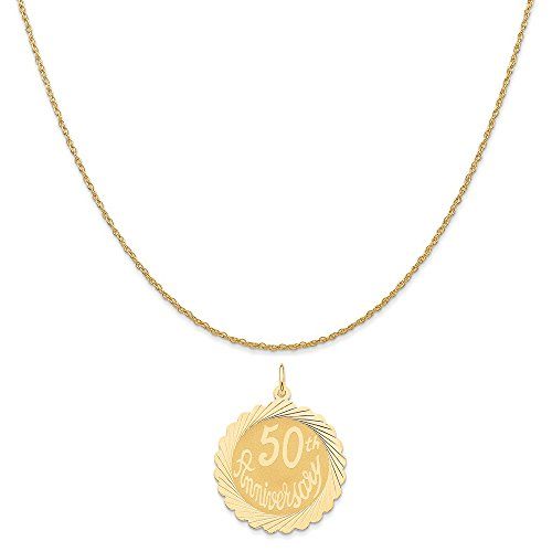 old Happy 50Th Anniversary Charm on a 14K Yellow Gold Rope Chain Necklace, 18
