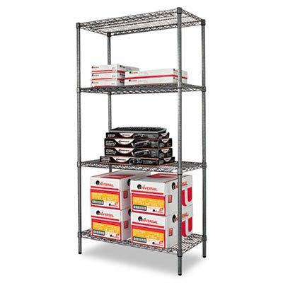 (Alera ALESW503618BA Wire Shelving Starter Kit, Four-Shelf, 36w x 18d x 72h, Black)