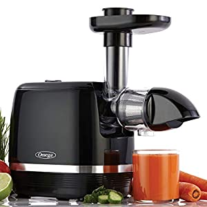 Omega H3000D Cold Press 365 Juicer Slow Masticating Extractor Creates Delicious Fruit Vegetable and Leafy Green High Juice Yield and Preserves Nutritional Value, 150-Watt, Black Masticating Juicers