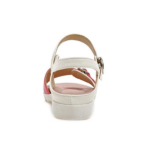 Allhqfashion Donna Tacco Basso Assortiti Fibbia Di Colore Materiale Morbido Open Toe Zeppe-sandali Rossi