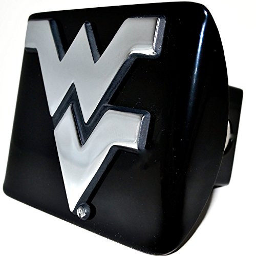 (West Virginia Mountaineers Black Metal Trailer Hitch Cover with Chrome Metal Logo (For 2