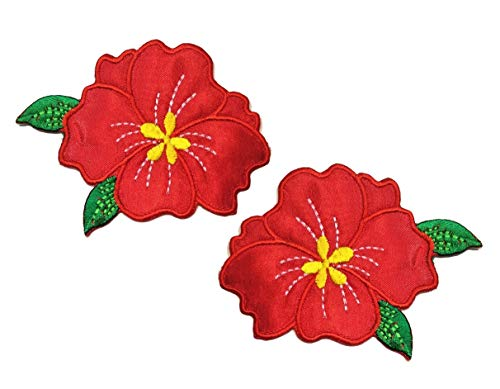 Nipitshop Patches Red Jasmine Flowers Embroidery Lace Flower Fabric Applique Sew on Patches Embroidered Patch DIY for Clothings Jeans Skirt Vests Scarf Hat Backpacks