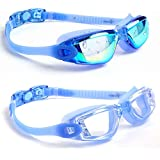 youyou Swim Goggles, Pack of 2 Swimming Goggles UV Protection Swim Glasses with Anti Fog Lenses, Swim Goggle with Ear Plug Nose Clip&Free Protection Case for Adult Men Women Youth Kids