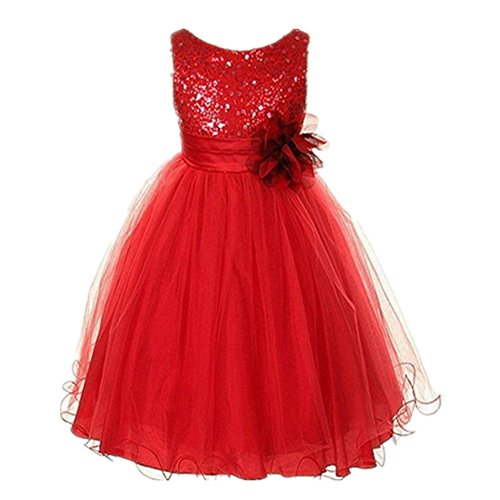 Weixinbuy Kids Girls Sequin Bowknot Sleeveless Summer Wedding Party Dress Red 5-6Y (Christmas Pageant Dresses)