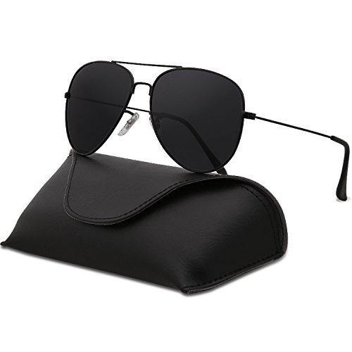SojoS Classic Aviator Polarized Sunglasses Mirrored UV400 Lens SJ1054 (C1 Black Frame/Grey Lens With Case, - Black Rb3026