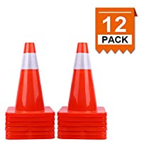 "[ 12 Pack ] 18"" Traffic Cones PVC Safety Road Parking Cones Weighted Hazard Cones Construction Cones for Traffic Fluorescent Orange w/4"" Reflective Strips Collar"
