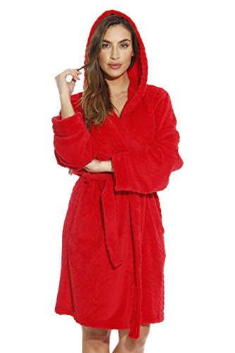 Just Love 6341-Red-2X Kimono Robe/Hooded Bath Robes for Women ()