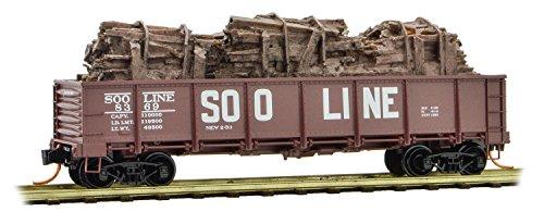 Micro-Trains MTL N-Scale 40ft Drop-Bottom Gondola Soo Line/Scrap Wood Load #8369 - Drop Bottom Gondola
