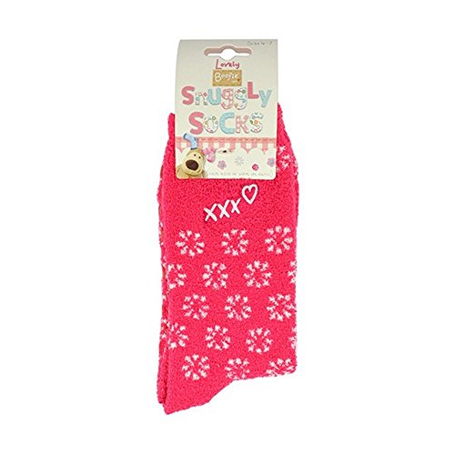 Boofle Snuggly Fluffy Ladies Socks Kisses Heart US Size 4.5 - (Snuggly Kisses)