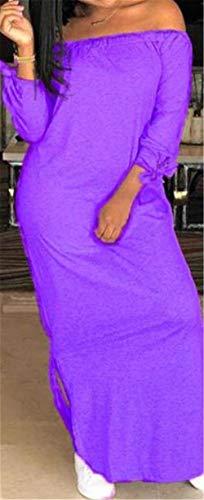 Color Haokan Vestido Descubiertos y Mangas sin Púrpura Pequeña Hombros Largo Hombros Descubiertos con tamaño Verano de F7qFrWPa