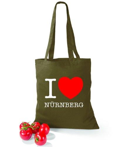 Artdiktat Baumwolltasche I love Nürnberg Olive Green