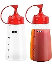 Pressa flaska med munstycke 2 st kock klämflaskor ingen läcka återanvändbar för hemrestaurang 300 ml plastflaskor för sås, ketchup, grillning, dressing, färg, pannkaka