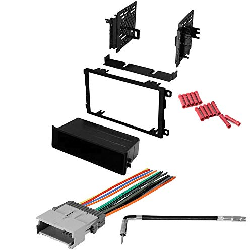 CACHÉ KIT114 Bundle with Complete Car Stereo Installation Kit Compatible with 2003-2008 Pontiac Vibe - in Dash Mounting Kit, Wire Harness, Antenna for Double Din or Single Din Radio Receivers (4 Item)