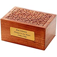 Solid Rosewood Center Tree of Life Engraving Handcarved Wood Urn with Custom Engraved 2x4 Brass Plate - Large, Cremation Urn, Wooden Urn