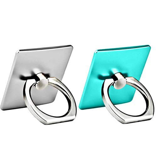 (2 Pack Finger Ring Stand 360 Degree Rotation Thin Universal Phone Ring Holder Kickstand Compatible with iPhone Xs,XS MAX,X,8/8 Plus, 7/7 Plus,6/6S,5 SE,iPad,Samsung HTC Other Smartphones-Silver+Teal )