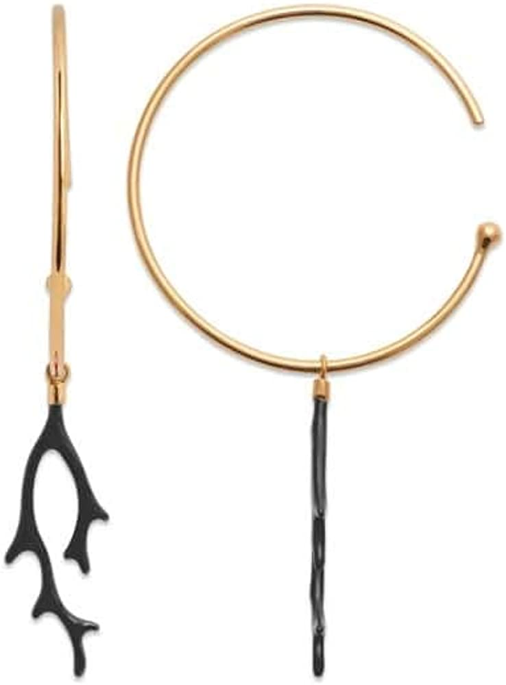 Tata Giselle - Pendientes chapados en Oro y esmaltado Negro – Colgante Coral – Bolsa de Regalo de Terciopelo