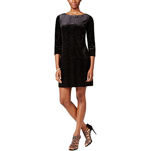 Jessica Howard Womens Missy Velvet Metallic Cocktail Dress Black 12