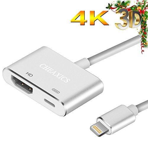 Lightning to HDMI, iphone HDMI Adapter, Lightning Digital AV Adapter for iPhone X,iPhone 8/Plus iPad and Projector (Silver)