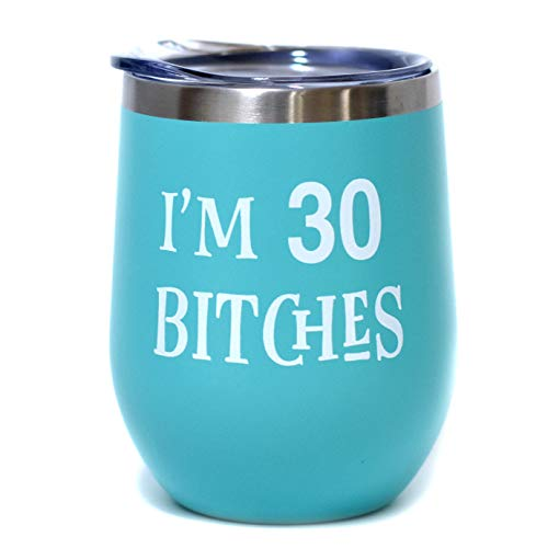 Im 30 | 12 oz Stainless Steel Insulated Wine Tumbler Sippy Cup with Lid - Funny 30th Birthday Gift For Women (Mint, White)