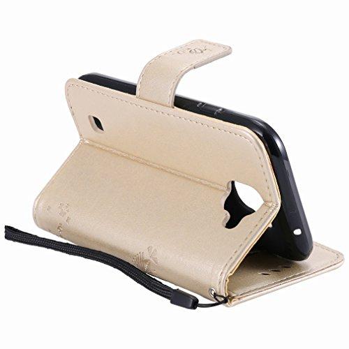 Yiizy LG K3 (2017) Custodia Cover, Alberi Disegno Design Premium PU Leather Slim Flip Wallet Cover Bumper Protective Shell Pouch with Media Kickstand Card Slots (Dorato)
