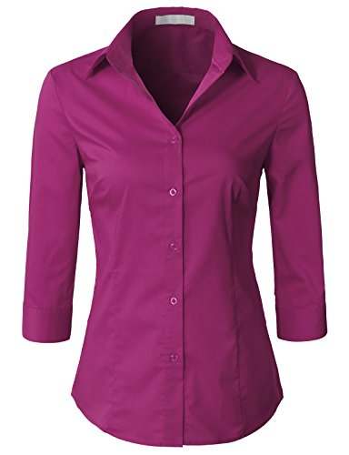 (H2H Womens Office Formal Slim Fit 3/4 Sleeve Button Down Shirt Blouse Top Fuchsia S)