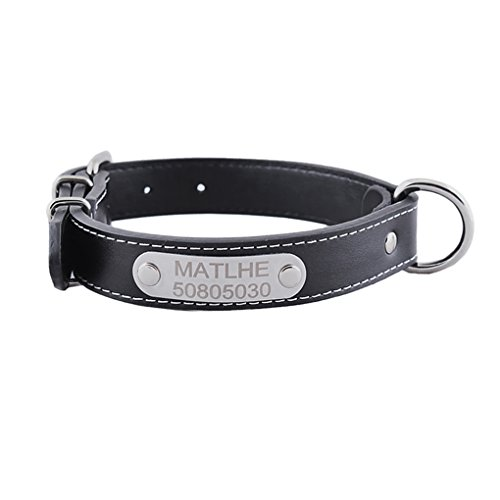 Personalized Custom Made Name Dog Collars, Luxury Black Leather Adjustable Metal Buckle Safety Pet Collars with Stainless Steel Engraved Pet Dog ID Tags Puppy Name Phone Plate Charm Tags - Dog Collar Leash Tag