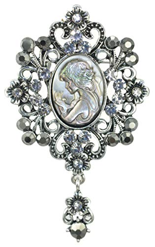 (Gyn&Joy Grey Crystal Victorian Cameo Gothic Lady Shell Brooch Pin Gift for Her)