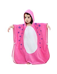 Gogokids Baby Boys Girls Hooded Bathrobe 100% Cotton Bath Towel for Kids Children