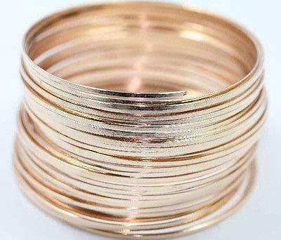 FidgetFidget Wholesale 100/500 Loops Metal Steel Memory Wire Circle for Cuff Bangle Bracelet Gold Rose 500 Loops ()