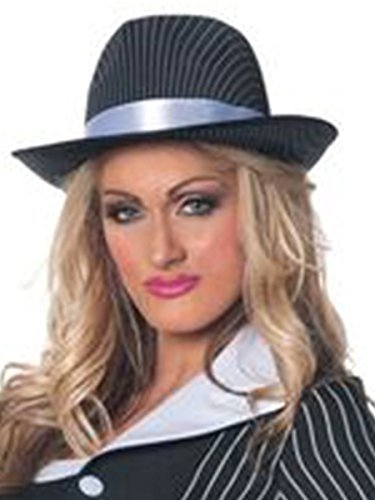 [Underwraps Women's Gangster Pin Stripped Hat, Black/White, One Size] (Mafia Themed Costume)