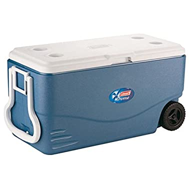Coleman 100 Quart XTREME 5 Day Cooler with Wheels and Handle, Extra ThermoZone Insulated that Holds Cold Longer for Wine and Water Drinks, Ideal for Party Grocery and Camping, CFCs HFCs and HCFCs FREE