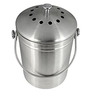 Premium Quality Stainless Steel Compost Bin 1.3 Gallon, Includes Charcoal Filter