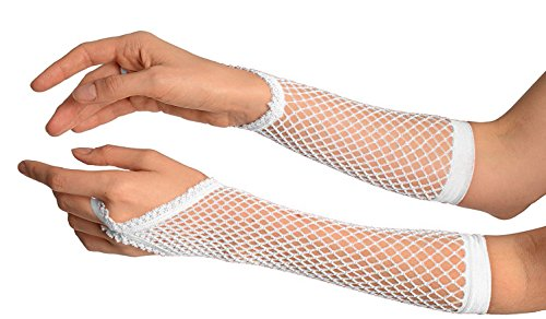 (Ypser Women's Long Fishnet Mesh Gloves Nylon Lace Fingerless with Finger Loop Punk Goth Lady Disco Dance Costume Accessory 80's Style (White) )
