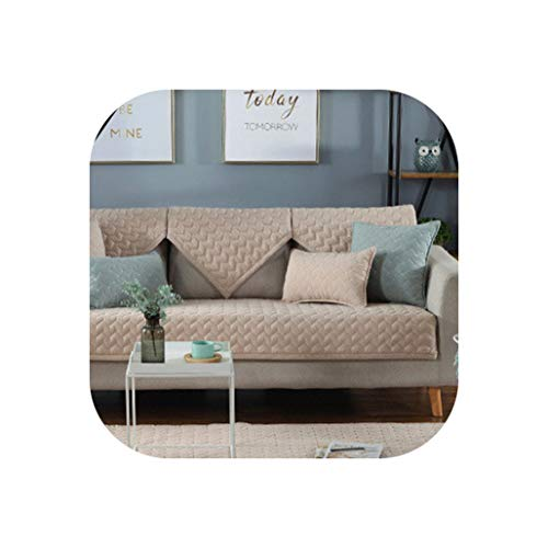 Fat Sheep Proud Rose Cotton Sofa Cushions Four Seasons Sofa Towel Backrest Towel Pure Color Sectional Sofa Cover Pillowcases,Beige,90X160Cm