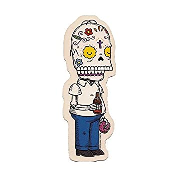 Homer simpson inspired calavera die cut clear vinyl sticker sugar skull day of the dead