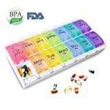 Airror Pill Organizer, 7-Day AM PM Weekly Pill Case 14 Compartments Not Easy to Mix, Colorful Weekly Travel Pill Planner, Portable Travel Kits, Daily Reminders of Drugs 2 Times (Rainbow 2 Row)