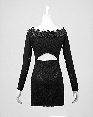 R¨¹cken Gothic Kragen Gr Langarm en Word Lacework Punk Kleid 7 Frauen Kleid Hollow wqg5WOT