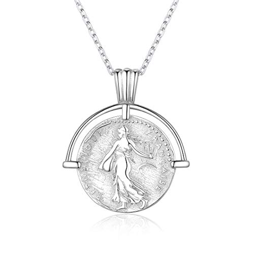925 Sterling Silver Round Pendant - Coin Necklace 925 Sterling Silver Coin Round Medallion Pendant Necklace Vinatge Jewelry for Women Men