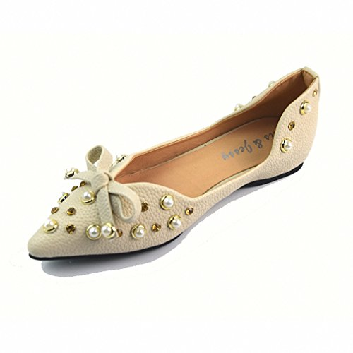 2b0bbddeb7c 85%OFF Rhinestone Decoration Pointed Toe Women Flat Shoes Nice Butterfly  Soft Leather Shoes