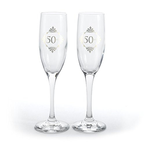 Hortense B. Hewitt Golden Anniversary Champagne Flutes (Set of 2), (50th Anniversary Flutes)